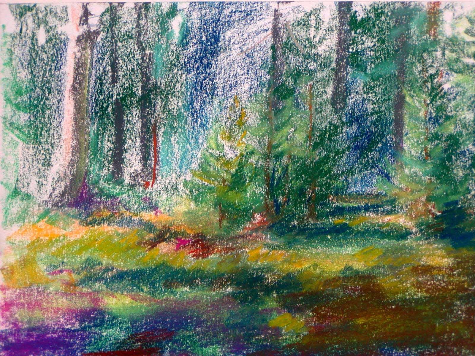 Las wiosną, pastel, papier, 21x30 - Galeria Joanny Żołnierczuk