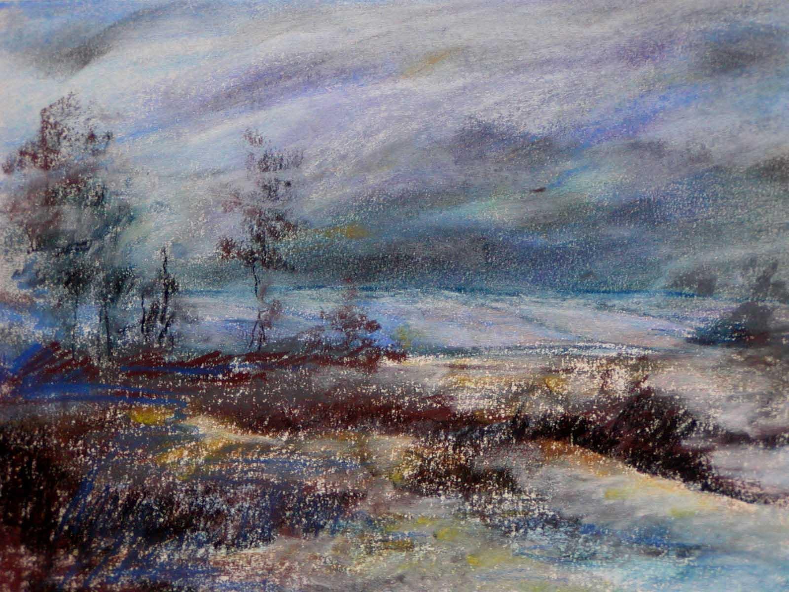 Pejzaż zimowy, pastel, papier, 50x70 - Galeria Joanny Żołnierczuk